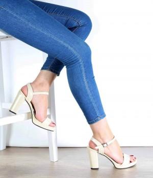 Altın Renk Yüksek Topuk Bilek Bağlı Kadın Ayakkabı