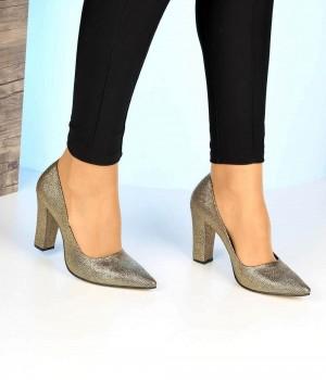 Altın Zen Kalın Topuk Kadın Ayakkabı