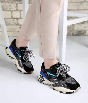 Armonie Siyah Cilt Pump Taban Bağcıklı Kadın Spor Ayakkabı