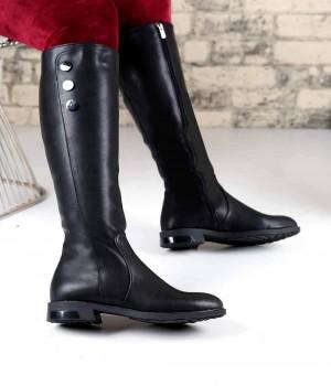Astria Siyah Cİlt Fermuarlı Düğme Detay Kadın Çizme