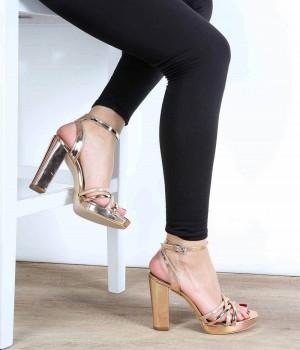 Bakır Ayna Bilek Bağlı Yüksek Topuk Kadın Ayakkabı