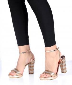 Bakır Zebra Taş İşlemeli Bilek Bağlı Kadın Ayakkabı