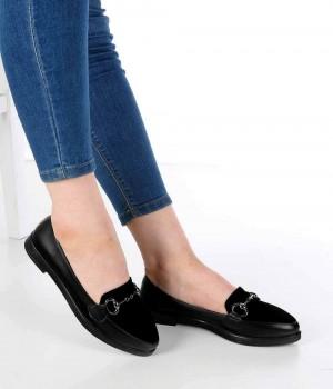 Santino Siyah Cilt Süet Burun Tokalı Kadın Ayakkabı