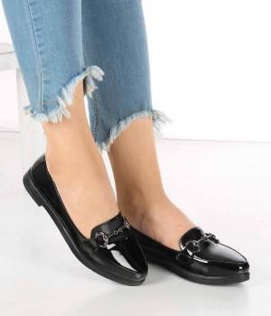 Santino Siyah Rugan Tokalı Kadın Ayakkabı