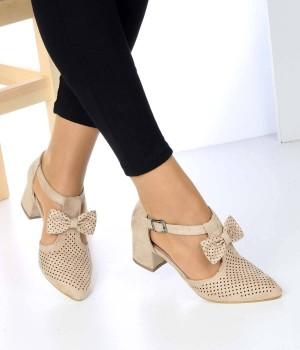 Ten Süet Papyon Bilek Bağlı Kadın Ayakkabı