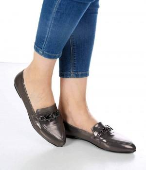 Vette Platin Renk Yıldız Toka Kadın Ayakkabı