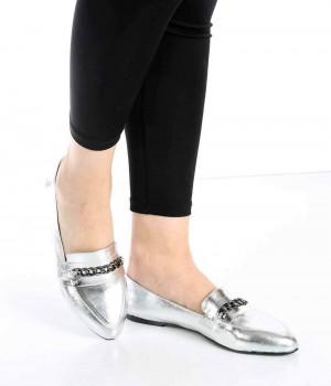 Bernard Gümüş Renk Zincir Toka Kadın Ayakkabı