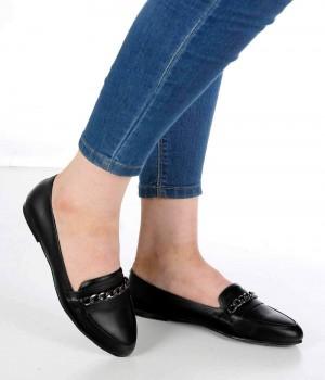 Bernard Siyah Cilt Zincir Toka Kadın Ayakkabı