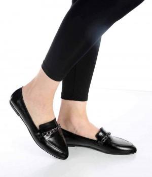 Bernard Siyah Renk Zincir Toka Kadın Ayakkabı