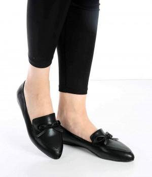 Amesta Siyah Renk Fiyonk Toka Kadın Ayakkabı