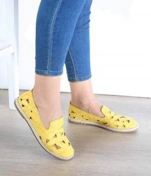 Sarı Cilt Lazer Kesim Desenli Kadın Ayakkabı