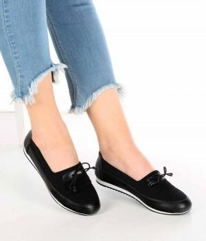 Riviera Siyah Cilt Bağcık Detaylı Streçli Kadın Ayakkabı