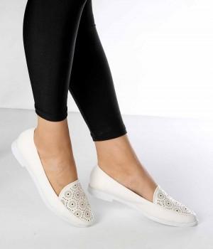Mirella Beyaz Cilt Lazer Desen Kadın Ayakkabı
