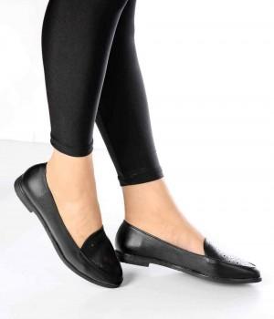 Mirella Siyah Cilt Lazer Desen Kadın Ayakkabı