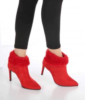 İmelda Kırmızı Süet Kürklü İnce Topuk Fermuarlı Kadın Bot