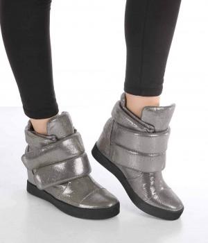 Armond Platin Cırtlı Gizli Topuk Kadın Bot