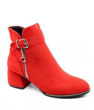 Kalley Kırmızı Süet Kemer Toka Topuklu Fermuarlı Kadın Bot