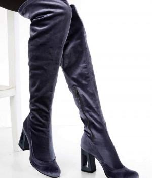 Orland Gri Süet Diz Üstü Tasarım Topuk Kadın Çizme