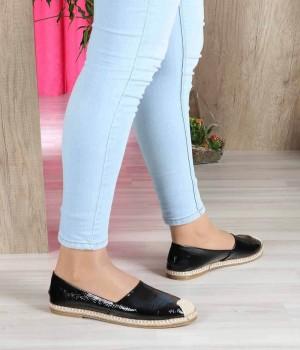 Siyah Kırışık Cilt Hasır Kenar Espadril Kadın Ayakkabı