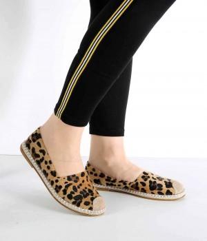Leopar Desen Hasır Kenar Espadril Kadın Ayakkabı