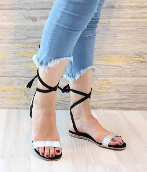 Stella Siyah Hologram Sarma Bilek Bağlı Kadın Sandalet