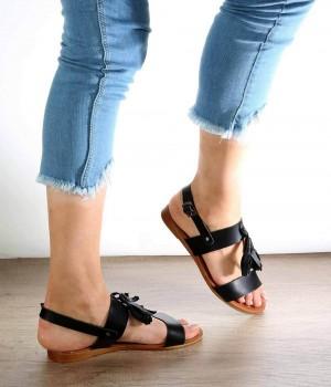 Rocco Siyah Cilt Püskül Kadın Sandalet