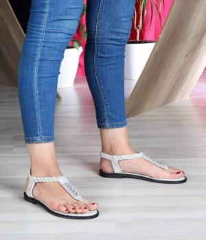 Gümüş Parmak Arası Taş İşlemeli Köprü Kemer Lastikli Kadın Sandalet
