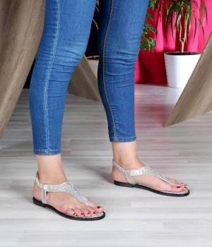 Altın Parmak Arası Taş İşlemeli Pin Taban Lastikli Kadın Sandalet