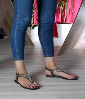 Platin Parmak Arası Taş İşlemeli Pin Taban Lastikli Kadın Sandalet