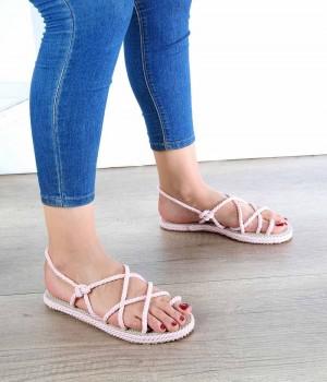 Pudra Halat Çapraz Örgü Parmak Arası Kadın Sandalet