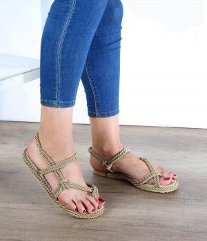 Altın Halat Parmak Arası Kadın Sandalet