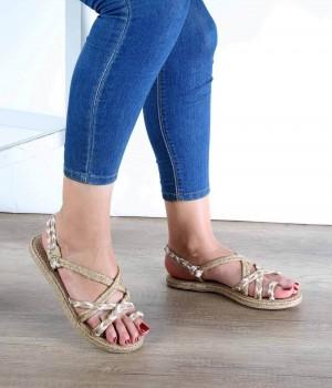 Hasır Örgü Beyaz Desenli Topuktan Geçme Kadın Sandalet