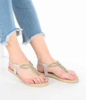 Valerio Altın Sim İnci İşlemeli Parmak Arası Kadın Sandalet