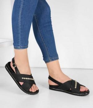 Siyah Çapraz Bant Tasarım Topuk Kemerli Kadın Sandalet
