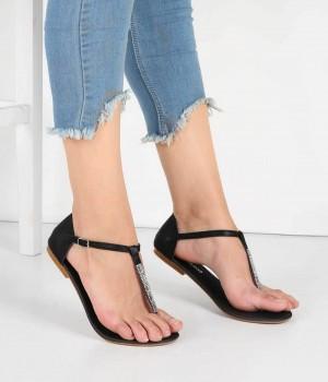 Siyah Renk Taşlı Parmak Arası Bayan Sandalet