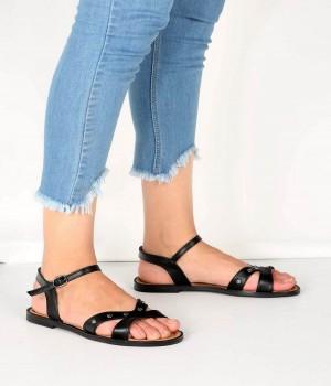 Siyah Çapraz Metal Pinli Bant Tasarım Kadın Sandalet