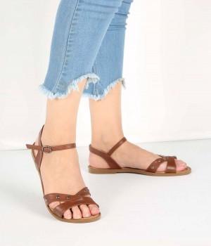 Taba Çapraz Metal Pinli Bant Tasarım Kadın Sandalet