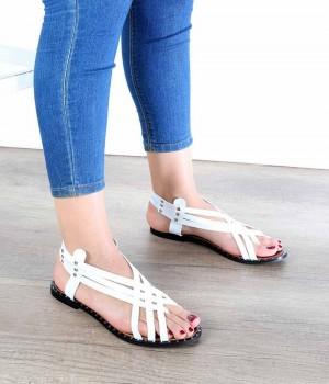 Beyaz Cilt Çapraz Örgü Jurdan Taban Kadın Sandalet