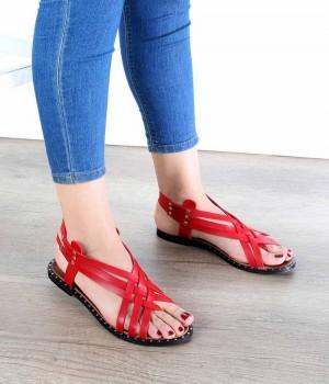 Kırmızı Cilt Çapraz Örgü Jurdan Taban Kadın Sandalet