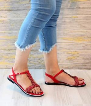 Liona Kırmızı Süet Örgü Kemer Detaylı Kadın Sandalet