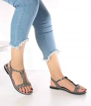 Liona Platin Örgü Kemer Detaylı Kadın Sandalet