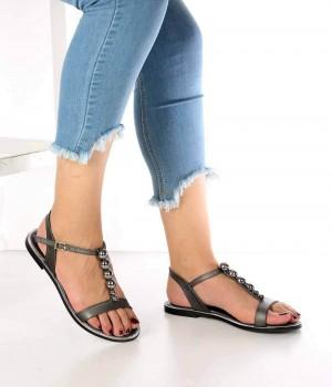 Jemma Platin Cilt Boncuk Detay Kadın Sandalet