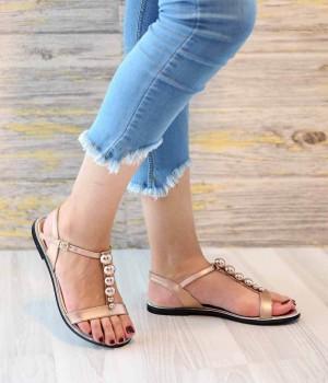 Jemma Altın Cilt Boncuk Detay Kadın Sandalet