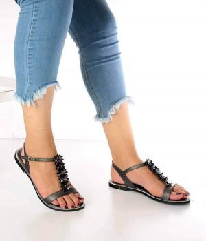 Lanze Platin Cilt Çiçek Detaylı Kadın Sandalet