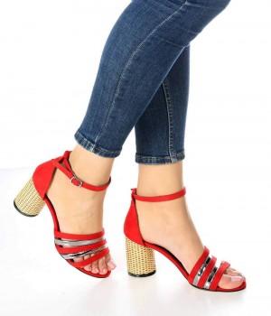 Lella Kırmızı Süet Bilek Bağlı Kadın Ayakkabı