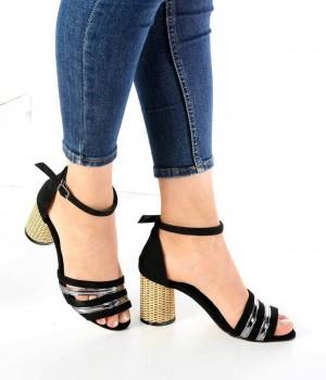 Lella Siyah Süet Bilek Bağlı Kadın Ayakkabı