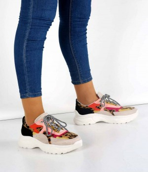 Cruzy Bej Leopar Bağcıklı Yüksek Taban Kadın Spor Ayakkabı