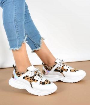 Leopar Beyaz Bağcıklı Yüksek Taban Kadın Spor Ayakkabı