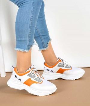 Beyaz Yazı Basklı Bağcıklı Bayan Spor Ayakkabı