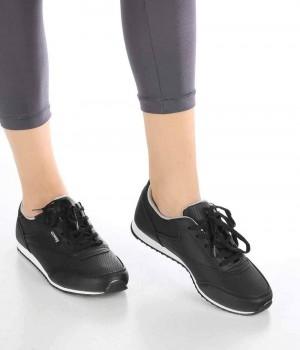 Elisa Siyah Gümüş Bağcıklı Kadın Spor Ayakkabı